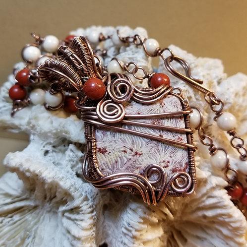 "Centipede Coral Pendant w/24"" beaded chain"