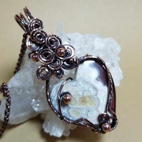 Mexican Lace Agate Heart Pendant
