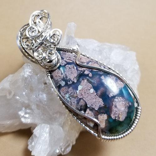 Rare Needles Blue Agate Pendant