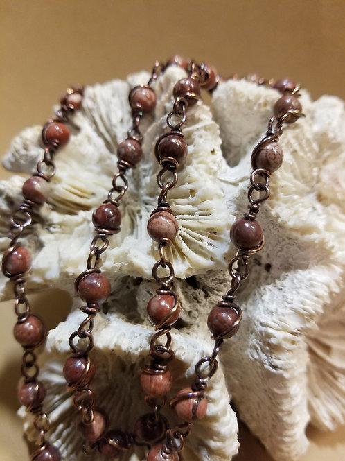 """24"""" Beaded Pomegranet Jasper chain"""