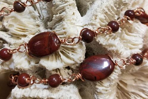 "26"" Beaded Red Jasper Chain"