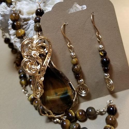 Golden & Blue Tigereye set
