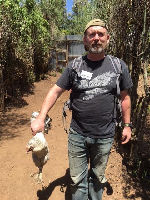 Darren finally holds a chicken!!