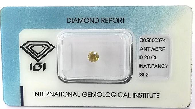 DIAMANTE FANCY YELLOW ROUND IGI CT:0.26
