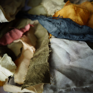 Naturally dyed silk samples