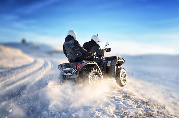 Quad bike in motion, ride on top of the