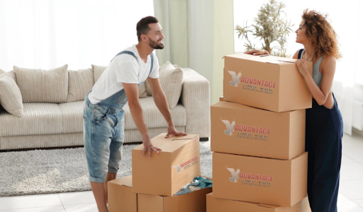 Couple using residential moving services