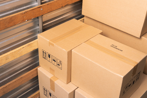 Packed moving boxes in moving truck