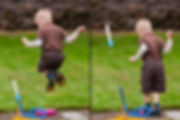 Image of Mattersdorff Son, Lachlan playing and jumping with toys outdoors. Portland, OR
