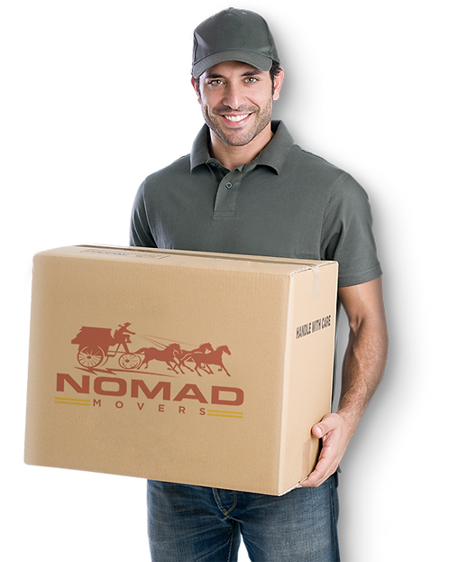 Moving specialist carrying a box. Nomad Movers located in Southern California