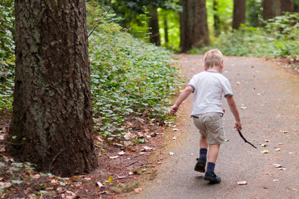 Image of Mattersdorff's son, Lachlan walking in the forest, Portland, OR