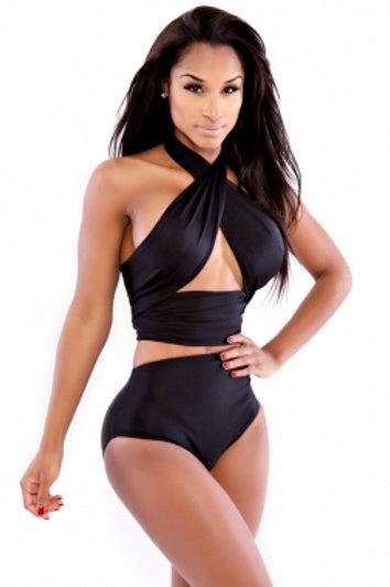'Its A Wrap' Classic Black Wrap Swimsuit