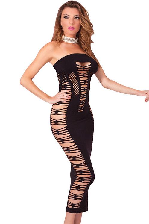 'Hey Big Spender' Long Black Tube Dress