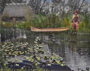 Man & Canoe on River