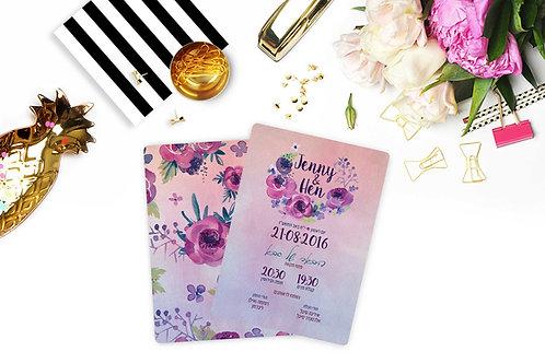 Wedding Invitation - Romantic Purple