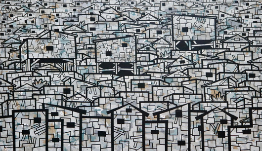 """slum #17"" acrylic and ink on canvas by Phillipé Ducasse"