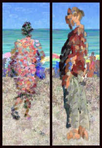 """Beach People 2"" digital painting by Karen Hochman Brown"