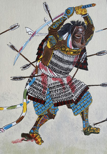 """African Man in Yukata""   Acrylic paint, modeling paste on wood by Jasmine Crews"