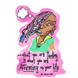 """Watchu Thinkn?"" mixed media by Ashende Amun"