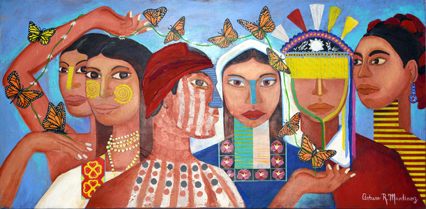 """Beauty ethnic"" Acrylic on canvas 24  x 48 inch by Arturo Martinez"
