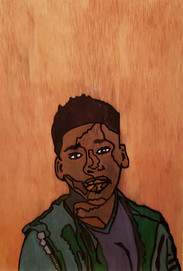 """13yo Bryce"" paint pens and marker on wood by Douglas Nowling"