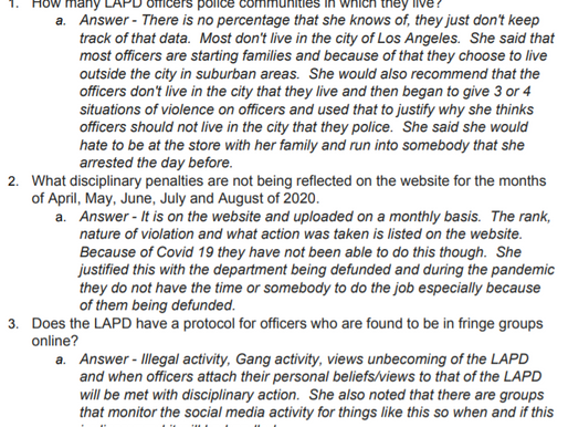 Comments/questions for the LAPD?