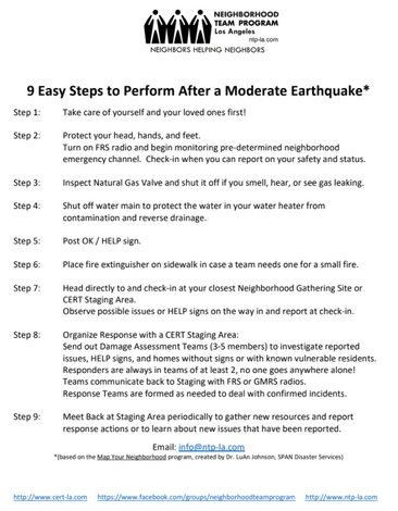 Steps to perform after a moderate earthquake