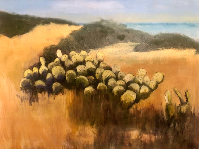 """Beach Cactus"" oil on panel by Ruth Askren"
