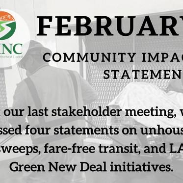 February Community Impact Statements