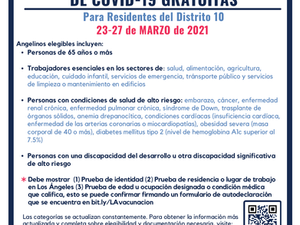 Covid-19 Vaccination & Testing March 23-27 for council district 10
