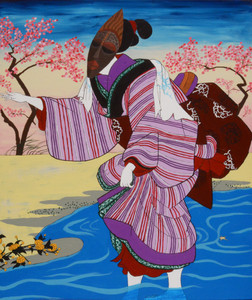"""African Geisha in Cherry Blossom Season""  Acrylic Paint on canvas by Jasmine Crews"