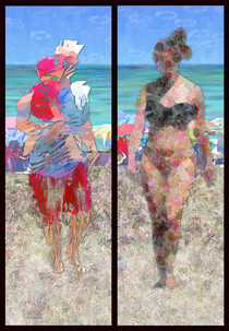 """Beach People 1"" digital painting by Karen Hochman Brown"
