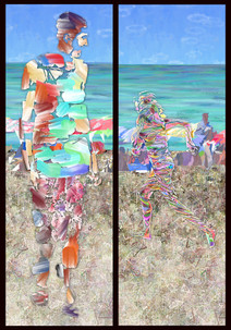 """Beach People 3"" digital painting by  Karen Hochman Brown"