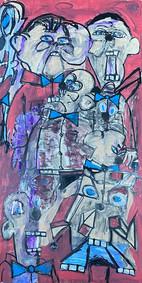 """faces"" acrylic, chalk, pastel on wood by Daniel ""Snazzy"" Suarez"