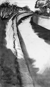 """Ballona Creek at Jefferson"" charcoal on paper by Ruth Askren"