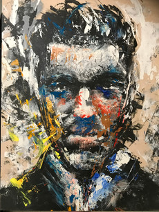 """Vincent Cassel"" Acrylic and Ink on Wood by Eric Son"