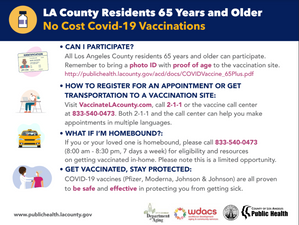 65+ Homebound Vaccinations free of charge