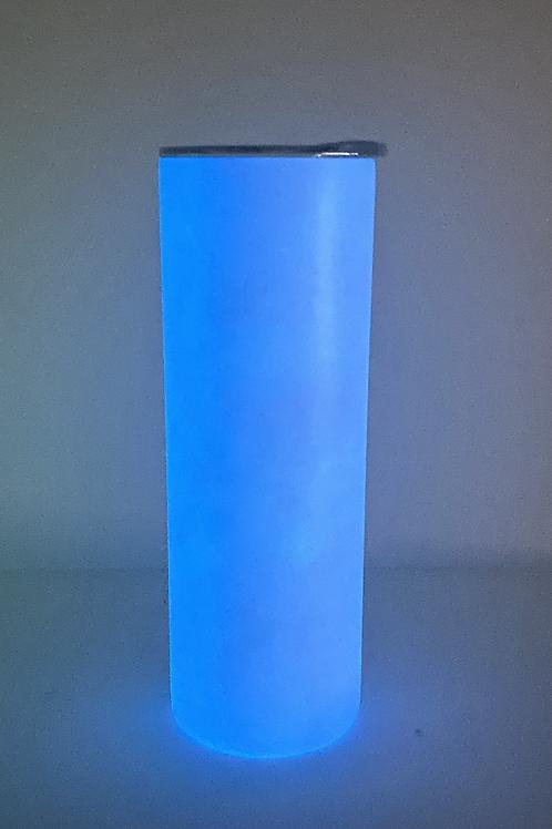 20oz White to Blue Glow Sublimation Tumbler