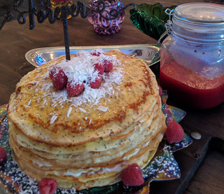 Lemon poppyseed brides cake with raspberry coulee