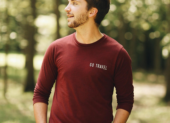 Go Travel Burgundy Long Sleeve T-Shirt