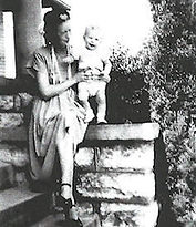 Mother and child on porch