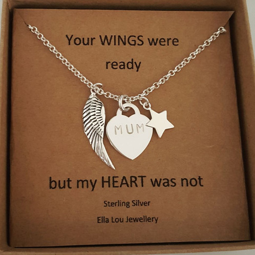 5badd00eaa3 Sterling silver belcher chain with large wing, heart and star. The heart  can be engraved with a name etc or can also be left blank.