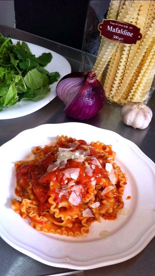 Traditional pasta with tomato sauce