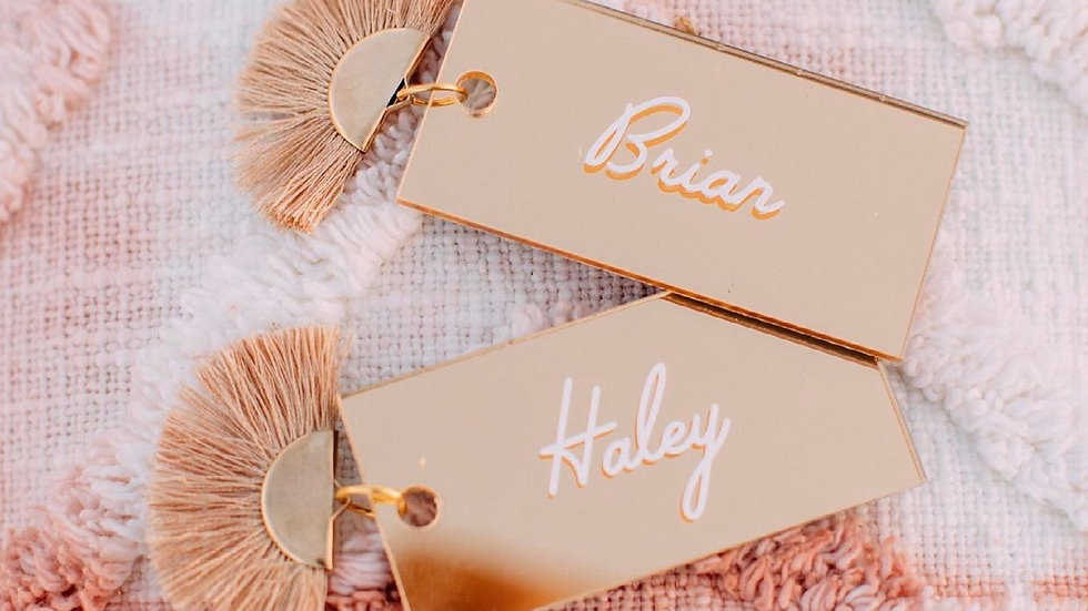 Gold Mirror Placecards with Tassels