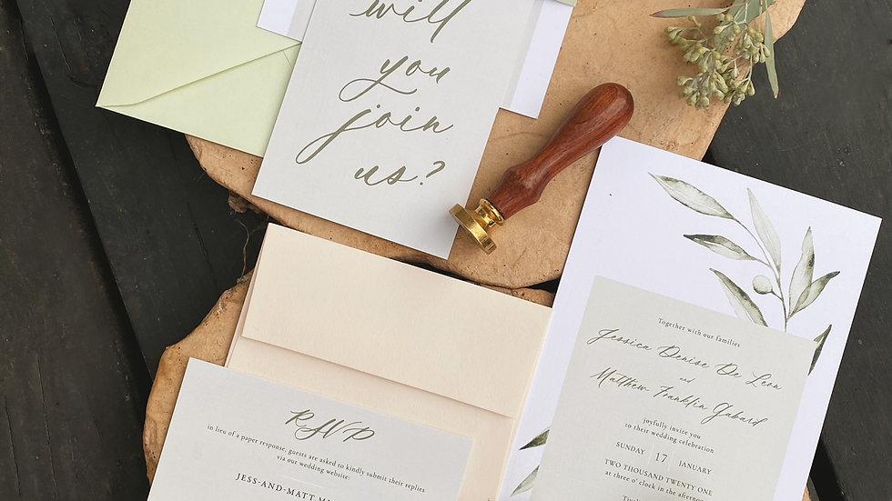 """Italian Olive"" Invitation Suite"