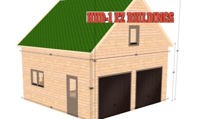 2 story log Garage J2  19.5 ft. x 19.5 ft. x 19.5 ft D.I.Y. Building kit