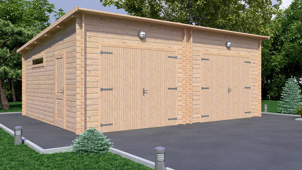 Garage J2M 22 ft. x 17 ft. x 9 ft. 3 in. D.I.Y Log Garage Building Kit