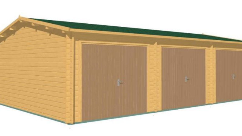 Garage J3C 29 ft. 5 in. x 19 ft. 6 in. Log Garage Building Kit with door motor