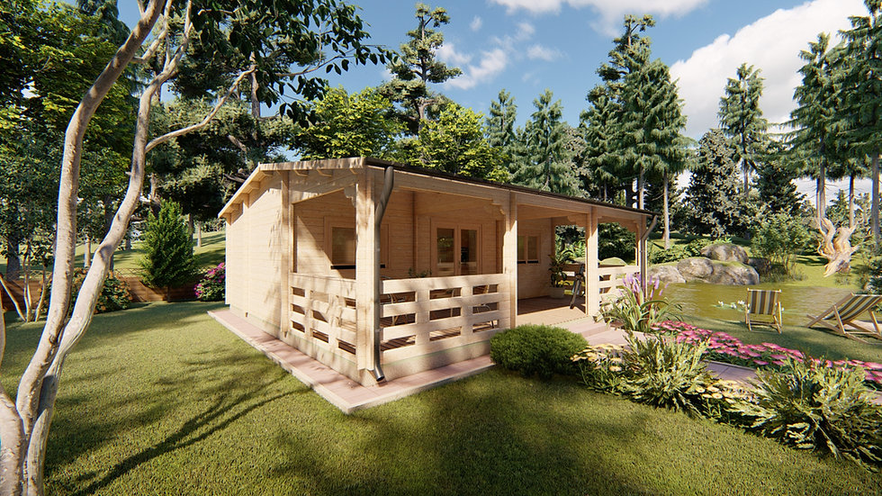 Lama J44 26 ft. x 14 ft. with 26 ft. x 8 ft. porch Log Cabin Chalet building kit