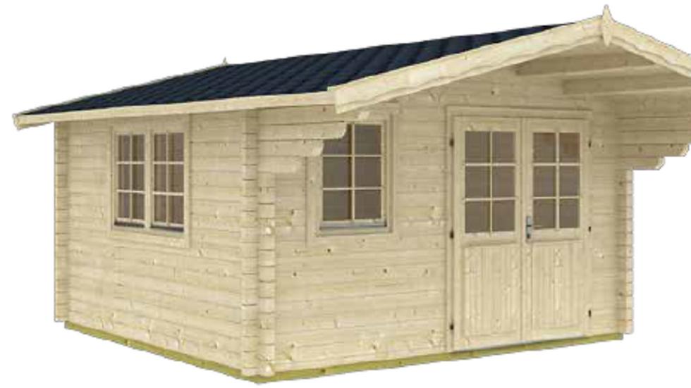 Znoe 13 ft. 1 in. x 16 ft. 4 in. Wood Log Garden Hobby Workshop Office Storage B